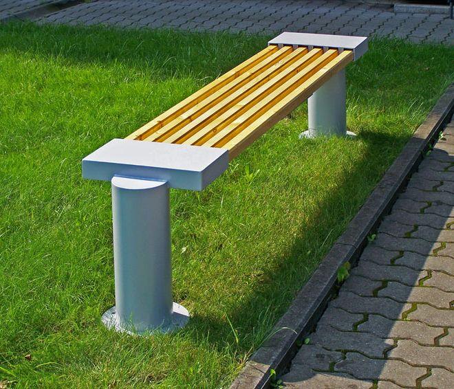 ławki metalowo - drewniane bez oparcia
